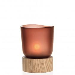 Tafellicht rood met houten basis, Terra